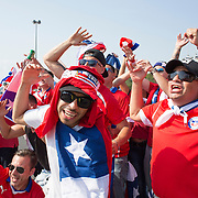 EAST RUTHERFORD, NEW JERSEY - JUNE 26:  Chilean fans arriving for the final at MetLife Stadium during the Argentina Vs Chile Final match of the Copa America Centenario USA 2016 Tournament at MetLife Stadium on June 26, 2016 in East Rutherford, New Jersey. (Photo by Tim Clayton/Corbis via Getty Images)