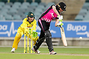 Amy Satterthwaite drives. Women's T20 international Cricket, Australia v New Zealand White Ferns.  Manuka Oval, Canberra, 5 October 2018. Copyright Image: David Neilson / www.photosport.nz
