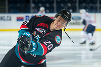 KELOWNA, CANADA - SEPTEMBER 22: Conner Bruggen-Cate #20 of the Kelowna Rockets warms up with a shot on net against the Kamloops Blazers  on September 22, 2018 at Prospera Place in Kelowna, British Columbia, Canada.  (Photo by Marissa Baecker/Shoot the Breeze)  *** Local Caption ***