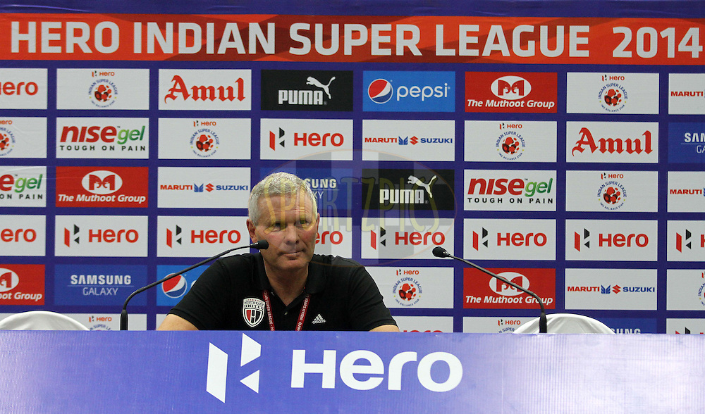 NorthEast United FC coach Ricki Herbert during the press conference of  match 11 of the Hero Indian Super League between Mumbai City FC and North East United FC City held at the D.Y. Patil Stadium, Navi Mumbai, India on the 24th October 2014.<br /> <br /> Photo by:  Vipin Pawar/ ISL/ SPORTZPICS