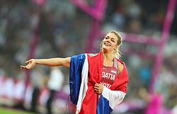 London, August 13 2017 . New world champion Sandra Perkovic celebrates  winning the women's discus on day ten of the IAAF London 2017 world Championships at the London Stadium. © Paul Davey.