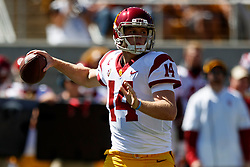 BERKELEY, CA - SEPTEMBER 23:  Sam Darnold #14 of the USC Trojans passes against the California Golden Bears during the first quarter at California Memorial Stadium on September 23, 2017 in Berkeley, California. (Photo by Jason O. Watson/Getty Images) *** Local Caption *** Sam Darnold