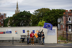 ©  London News Pictures. 17/09/2016. Bournemouth, UK. Pro EU campaigners stage a demonstration outside of Day 2 of the 2016 UKIP Autumn Conference, held at the Bournemouth International Centre in Bournemouth, Dorset. On Friday, the party elected Diane James as their new leader, following Nigel Farage resignation after the UK voted to leave the EU in a referendum..  Photo credit: Ben Cawthra/LNP