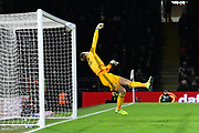 A deflected shot by Hayden Coulson (33) of Middlesbrough hits the bar with Marek Rodak (12) of Fulham beaten during the EFL Sky Bet Championship match between Fulham and Middlesbrough at Craven Cottage, London, England on 17 January 2020.