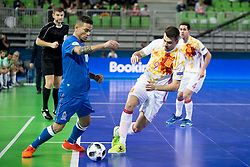 Vassoura of Azerbaijan and Sergio Lozano of Spain during futsal match between National teams of Ukraine and Portugal at Day 6 of UEFA Futsal EURO 2018, on February 4, 2018 in Arena Stozice, Ljubljana, Slovenia. Photo by Urban Urbanc / Sportida