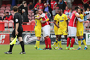 Ebbsfleet united attacker Danny Kedwell (9) hugging AFC Wimbledon defender Barry Fuller (2) during the Pre-Season Friendly match between Ebbsfleet and AFC Wimbledon at Stonebridge Road, Ebsfleet, United Kingdom on 29 July 2017. Photo by Matthew Redman.