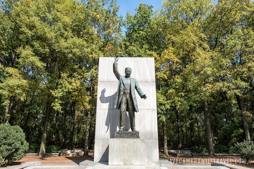 State of Theodore Roosevelt, America's 26th president, at the Theodore Roosevelt Memorial in Arlington, Virginia.