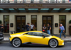 July 6, 2018 - London, London, United Kingdom - Luxury cars at Mayfair. .Five luxury cars have been fined outside Mayfair Hotel. The threat of three points and an £80 fine hasn't seemed to deter these super-car owners who parked £1 million worth of luxury motors. (Credit Image: © Gustavo Valiente/i-Images via ZUMA Press)