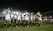 England players celebrate victory at the final whistle of the 2015 Under 20s 6 Nations match between England and France at the American Express Community Stadium, Brighton and Hove, England on 20 March 2015.