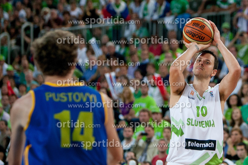Bostjan Nachbar of Slovenia during basketball match between National teams of Slovenia and Ukraine in ranking of 5th to 8th place at Day 18 of Eurobasket 2013 on September 21, 2013 in SRC Stozice, Ljubljana, Slovenia. (Photo By Urban Urbanc / Sportida)