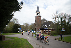 The small break works hard in the second lap of Stage 4 of the Healthy Ageing Tour - a 126.6 km road race, starting and finishing in Finsterwolde on April 8, 2017, in Groeningen, Netherlands.