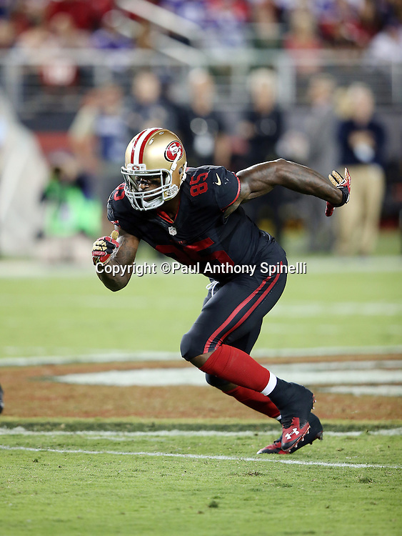 San Francisco 49ers tight end Vernon Davis (85) goes out for a pass during the 2015 NFL week 1 regular season football game against the Minnesota Vikings on Monday, Sept. 14, 2015 in Santa Clara, Calif. The 49ers won the game 20-3. (©Paul Anthony Spinelli)