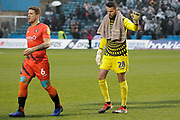 Wycombe Wanderers defender Adam El-Abd (6) and Wycombe Wanderers goalkeeper Stephen Henderson (28) during the EFL Sky Bet League 1 match between Gillingham and Wycombe Wanderers at the MEMS Priestfield Stadium, Gillingham, England on 15 December 2018.