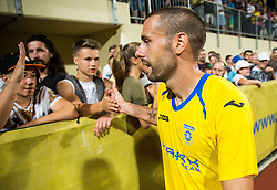 21.07.2016, Sports Park, Domzale, SLO, UEFA EL, NK Domzale vs Shakhtar Donetsk, Qualifikation, 2. Runde, Rueckspiel, im Bild Alvaro Brachi of NK Domzale celebrates with fans after winning // during the UEFA Europaleague Qualifier 2nd round, 2nd leg match between Grasshopper Club and KR Reykjavik at the Sports Park in Domzale, Slovenia on 2016/07/21. EXPA Pictures © 2016, PhotoCredit: EXPA/ Sportida/ Vid Ponikvar<br /> <br /> *****ATTENTION - OUT of SLO, FRA*****