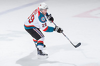 KELOWNA, CANADA - DECEMBER 30: Myles Bell #29 of the Kelowna Rockets takes a shot on net against the  Everett Silvertips at the Kelowna Rockets on December 30, 2012 at Prospera Place in Kelowna, British Columbia, Canada (Photo by Marissa Baecker/Shoot the Breeze) *** Local Caption ***