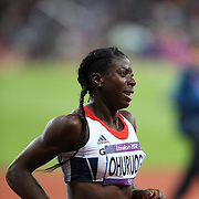 Christine Ohuruogu, Great Britain, winning the Silver Medal in the Women's 400m Final at the Olympic Stadium, Olympic Park, Stratford at the London 2012 Olympic games. London, UK. 5th August 2012. Photo Tim Clayton