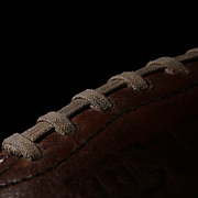 A studio shot of a traditionally laced vintage Wilson American Football ball. 17th October 2012. Photo Tim Clayton