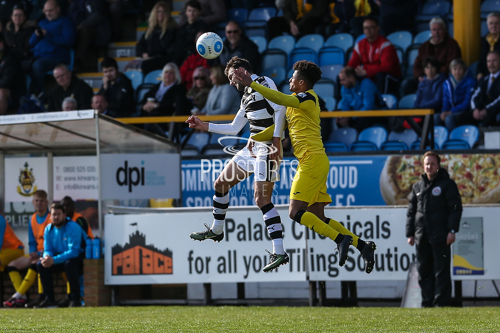 Forest Green Rovers Christian Doidge(9) heads the ball during the Vanarama National League match between Southport and Forest Green Rovers at the Merseyrail Community Stadium, Southport, United Kingdom on 17 April 2017. Photo by Shane Healey.