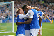 Sheffield Wednesday forward Lucas Joao (18) celebrates his goal with Sheffield Wednesday midfielder Barry Bannan (10)  during the EFL Sky Bet Championship match between Sheffield Wednesday and Sheffield Utd at Hillsborough, Sheffield, England on 24 September 2017. Photo by Phil Duncan.