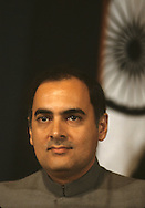 India Prime Minister Rajiv Gandhi speaks at the National Press Club in June 1985..Photograph by Dennis Brack  bb26
