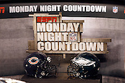 A Monday Night Football sign is present on the set of ESPN Monday Night Countdown along with helmets strategically placed during the Philadelphia Eagles NFL week 9 football game against the Chicago Bears on Monday, November 7, 2011 in Philadelphia, Pennsylvania. The Bears won the game 30-24. ©Paul Anthony Spinelli