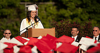 Valedictorian Emily Dionne addresses her class during the 133rd Commencement Ceremony at Laconia High School Friday evening.  (Karen Bobotas/for the Laconia Daily Sun)