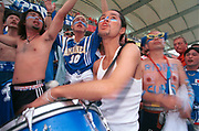 Crowd of Japanese Football fans, Cheering/Playing Drums, World Cup, Japan, 2002