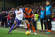 Rotherham United Defender Josh Emmanuel (2) battles with Scunthorpe United striker Ivan Tony (9) during the EFL Sky Bet League 1 match between Scunthorpe United and Rotherham United at Glanford Park, Scunthorpe, England on 10 February 2018. Picture by Craig Zadoroznyj.