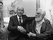Noel Purcell Celebrates His 81st Birthday.23.12.1981..12.23.1981..23rd December 1981..Noel Purcell celebrates his 81st birthday in the Adelaide Hospital.It's time to go the President, Mr Hillary bids farewell to Noel