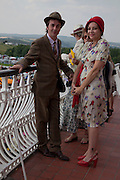 DANNY COFFEY; PEARL LOWE, Glorious Goodwood. Ladies Day. 28 July 2011. <br /> <br />  , -DO NOT ARCHIVE-© Copyright Photograph by Dafydd Jones. 248 Clapham Rd. London SW9 0PZ. Tel 0207 820 0771. www.dafjones.com.