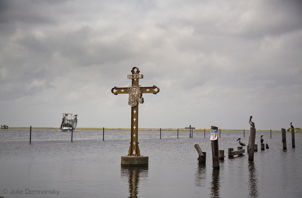 Katrina Memorial in St. Bernard Parish, in South Louisiana's wetlands at Shell Beach.