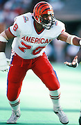 Cincinnati Bengals offensive tackle Anthony Munoz (78) blocks during the 1990 NFL Pro Bowl between the National Football Conference and the American Football Conference on Feb. 4, 1990 in Honolulu. The NFC won the game 27-21. (©Paul Anthony Spinelli)