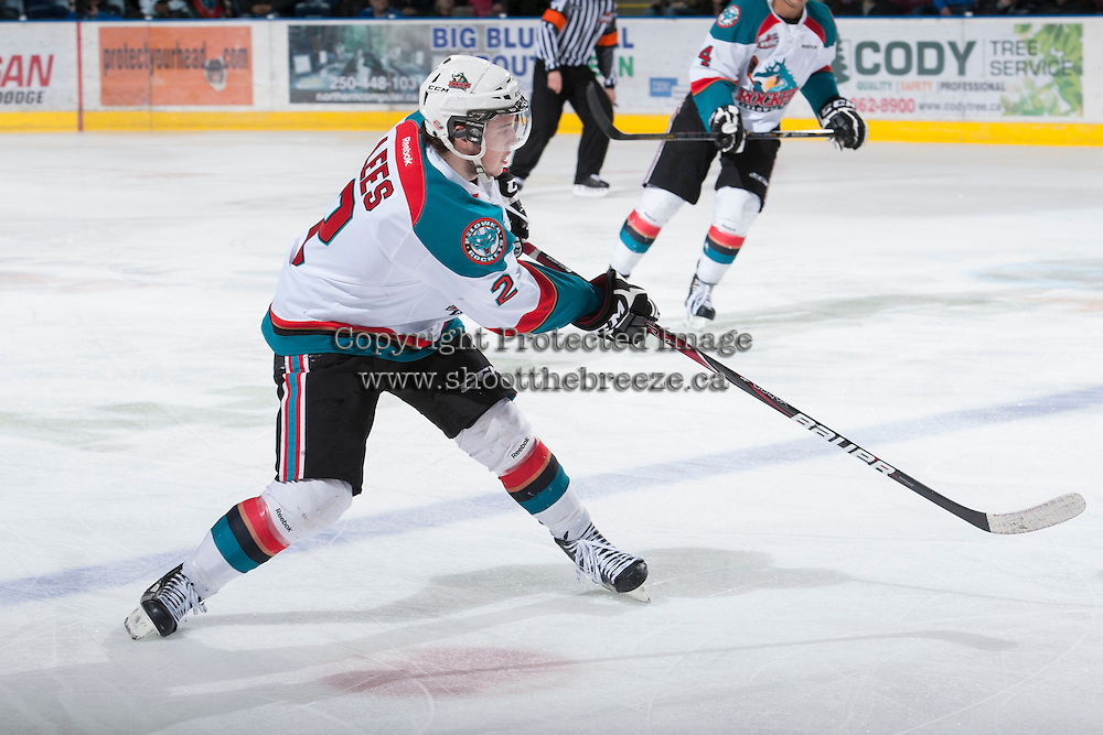 KELOWNA, CANADA - JANUARY 26: Jesse Lees #2 of the Kelowna Rockets takes a shot against the Prince Albert Raiders at the Kelowna Rockets on January 26, 2013 at Prospera Place in Kelowna, British Columbia, Canada (Photo by Marissa Baecker/Shoot the Breeze) *** Local Caption ***