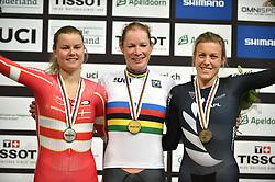 02-03-2018 BAANWIELRENNEN: UCI WK BAANWIELRENNEN: APELDOORN<br /> Kirsten Wildt (NED) goud, Amalie Diderksen (DEN) zilver en Rushlee Buchanan (NZL) brons op de Womens Omnium Tempo Race<br /> <br /> Foto: Margarita Bouma