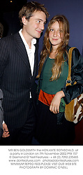 MR BEN GOLDSMITH the HON.KATE ROTHSCHILD, at a party in London on 7th November 2002.	PFB 157