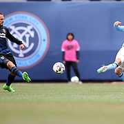 NEW YORK, NEW YORK - April 12:  Andrea Pirlo #21 of New York City FC is challenged by Marco Urena #21 of San Jose Earthquakes during the New York City FC Vs San Jose Earthquakes regular season MLS game at Yankee Stadium on April 1, 2017 in New York City. (Photo by Tim Clayton/Corbis via Getty Images)