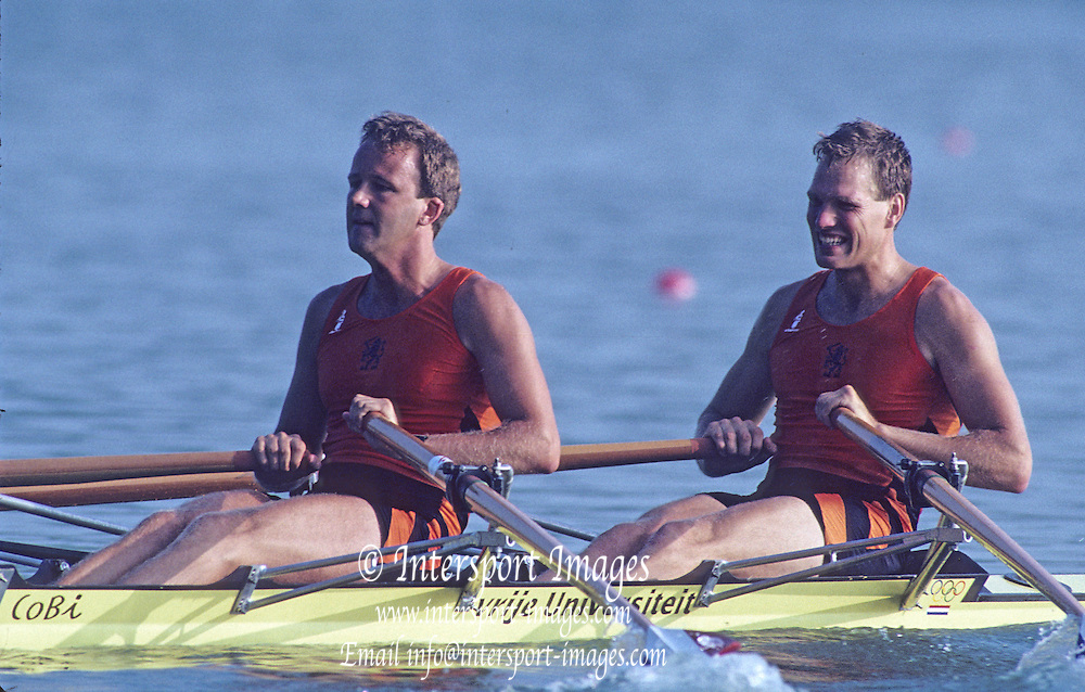 Barcelona, SPAIN. NED M2X Bronze Medalist, stroke, Nico RIENKS , Henk Jan ZWOLLE. 1992 Olympic Rowing Regatta Lake Banyoles, Catalonia [Mandatory Credit Peter Spurrier/ Intersport Images]