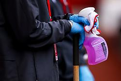 Groundstaff hold disinfecting spray - Mandatory by-line: Robbie Stephenson/JMP - 01/07/2020 - FOOTBALL - The City Ground - Nottingham, England - Nottingham Forest v Bristol City - Sky Bet Championship