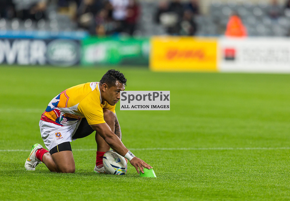 Kurt Morath warms up before the Rugby World Cup match between New Zealand and Tonga (c) ROSS EAGLESHAM | Sportpix.co.uk