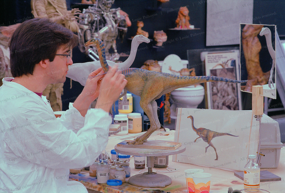 At Stan Winston Studios outside L.A. in Van Nuys, CA., the dinosaurs, like this an ornithomimus for Steven Spielberg's action epic, Jurassic Park are created.  Stan is one of Hollywoods most innovative character creators.