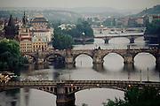 Prague, Czech Republic. The five bridges over the Vltava River. The Charles Bridge is the second one.