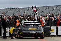 #22 Chris Smiley BTC Norlin Racing Honda Civic Type R (FK2) post race celebration after winning the race 3 of the Dunlop MSA British Touring Car Championship - Rockingham 2018 at Rockingham, Corby, Northamptonshire, United Kingdom. August 12 2018. World Copyright Peter Taylor/PSP. Copy of publication required for printed pictures.