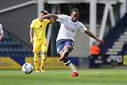 Daniel Johnson strikes during the Sky Bet Championship match between Preston North End and Milton Keynes Dons at Deepdale, Preston, England on 16 April 2016. Photo by Pete Burns.