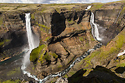 Háifoss is situated in the southern highlands of Iceland, in the river Fossá. Drops here from a height of 122 m, the second highest waterfall of the island.