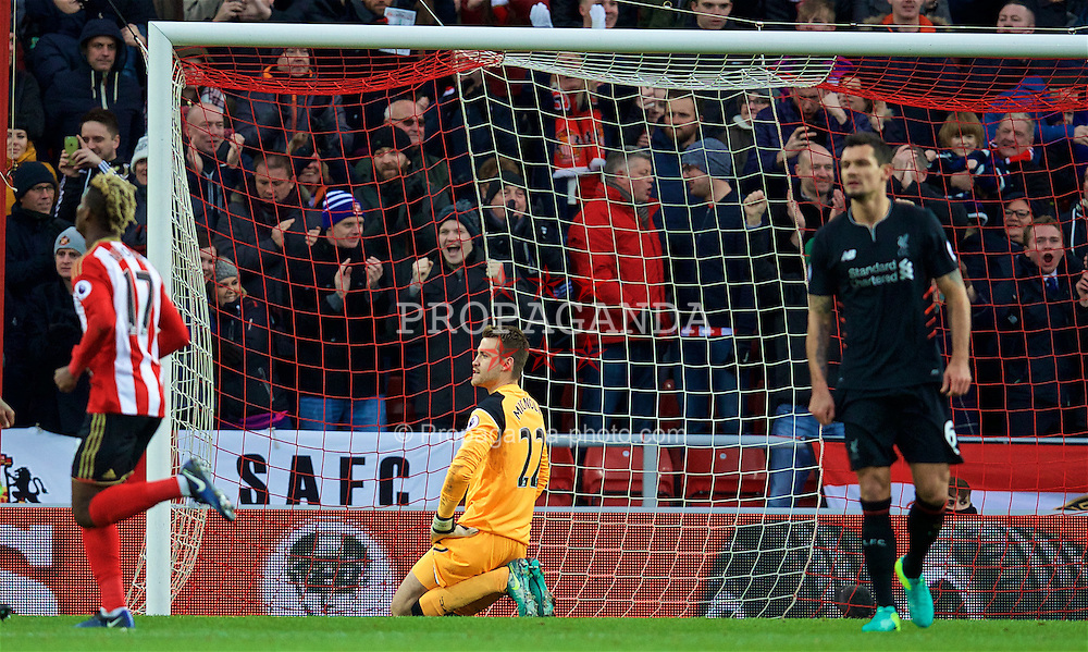 SUNDERLAND, ENGLAND - Monday, January 2, 2017: Liverpool's goalkeeper Simon Mignolet looks dejected as Sunderland score an equalising goal from the penalty spot to level the score at 1-1 during the FA Premier League match at the Stadium of Light. (Pic by David Rawcliffe/Propaganda)