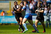 Bradford Bulls second row Colton Roche (11) is stopped during the Kingstone Press Championship match between Halifax RLFC and Bradford Bulls at the MBi Shay Stadium, Halifax, United Kingdom on 2 July 2017. Photo by Simon Davies.