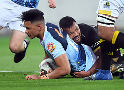 Northland's Solomon Alaimalo scores in the tackle of Wellington's Asafo Aumua in the Mitre 10 Semi Final Rugby match at Westpac Stadium, Wellington, New Zealand, Friday, October 20, 2017. Credit:SNPA / Ross Setford  **NO ARCHIVING**