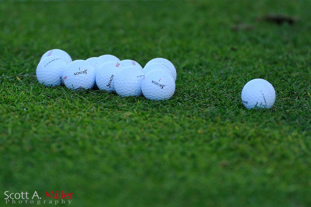 A group of golf balls sit in the grass on the range prior to the second round of the Farmers Insurance Open on the North Course at Torrey Pines on Jan. 27, 2012 in La Jolla, California. ..©2012 Scott A. Miller