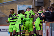 Forest Green Players Celebrate after Forest Green Rovers Christian Doidge(9) scores a goal to make it 1-2 during the EFL Sky Bet League 2 match between Stevenage and Forest Green Rovers at the Lamex Stadium, Stevenage, England on 21 October 2017. Photo by Adam Rivers.