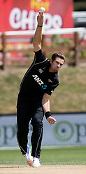 New Zealand's Tim Southee bowling against Pakistan in the third one day cricket international at the University of Otago Oval, Dunedin, New Zealand, Saturday, January 13, 2018. Credit:SNPA / Adam Binns ** NO ARCHIVING**